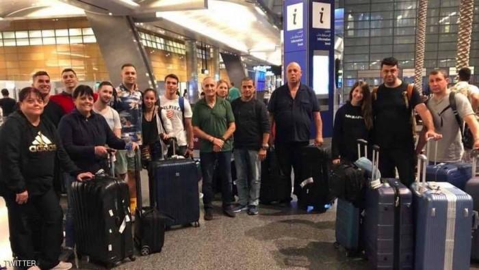 الوفد الاسرائيلي في مطار الدوحة