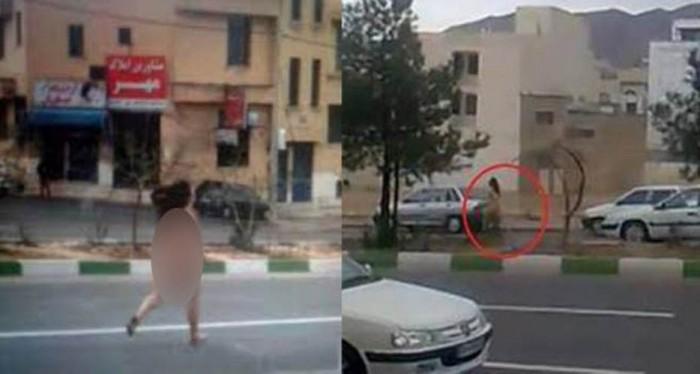 فتاة عارية في شوارع ايران